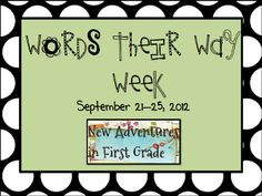 New Adventures in First Grade: word work TONS of ideas/schedules/games etc...for Words Their Way!