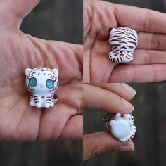 This little companion is a beautiful white tiger cub figurine. It has been entirely sculpted from scratch and has been painted freehand with stripes and cute little paw pads. The eyes have been domed to give them dimension and make them more realistic. You will recieve the exact cub from the picture and I hope you love this little guy as much as I do :)  It will come glazed and carefully packaged!  -This little cutie is only an inch or 2.5cm tall!  ❤❤❤  Follow me on Instagram for news…