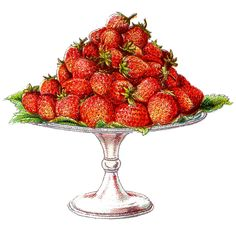 Vintage Clip Art – Strawberries on a Cake Plate