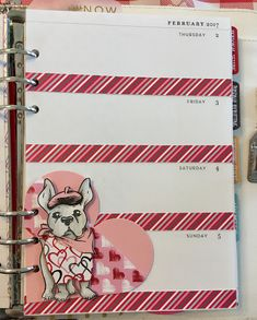 February planner spread with Fun Stampers Journey C'est La Vie ATS  stamps and Heart planner die