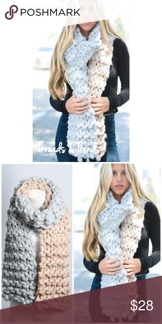 """Chunky Knit Scarf Oversized Knit Color Block Scarf  100% acrylic Size 33""""x10"""" Color white/Light Pink Threads & Trends Accessories Scarves & Wraps"""