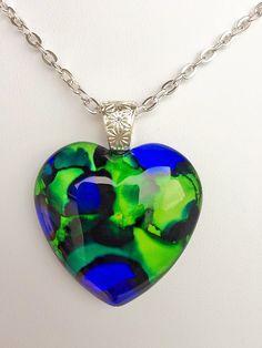 LOVE HAWKS Glass Heart Pendant Seattle Seahawks Inspired Ink Art  OOAK Necklace Jewelry  Fan 35mm A003 by myrockart on Etsy #seahawksfan