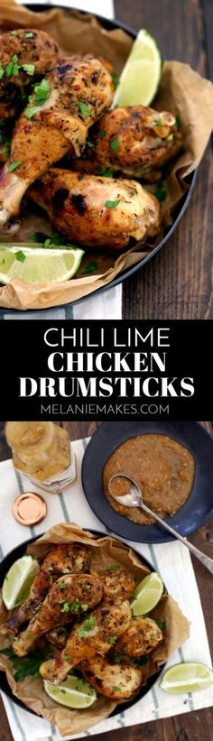 These six ingredient Chili Lime Chicken Drumsticks are your answer to a no fuss, high flavor dinner. These drumsticks begin in the slow cooker and finish under the broiler to create the perfect crispy exterior with succulent chicken waiting underneath. Slow Cooker Recipes, Cooking Recipes, Healthy Recipes, Cookbook Recipes, Cooking Tips, Chili Lime Chicken, Mexican Chicken, Chicken Drumsticks, Chicken Thighs