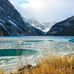 Ice blankets the surface of Lake Louise. Photo courtesy of brianthio on Instagram.