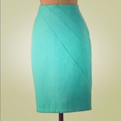 "Anthropologie Vibrant Teal Pencil Skirt SZ 6 ""San Pedro Pencil Skirt"" Side Zip, ""textural tweed"", Polyester and Cotton, 22.5"" length, by Eva Franco Anthropologie Skirts Pencil"