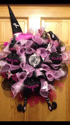 Breast Cancer Awareness Halloween Witch Wreath