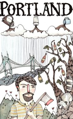 Portland by Brooke Weeber on etsy. I love the whimsy of this piece!