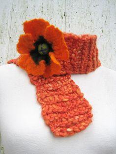 Handknitted spring summer scarf neck decor orange by woolpleasure, $19.99