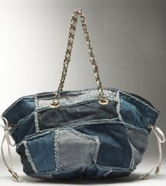 Bebe Denim & Chain Tote