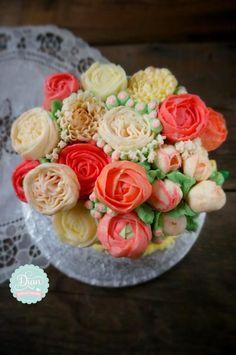 orange floral butter cream cake - Cake by Dian flower clay -cake design