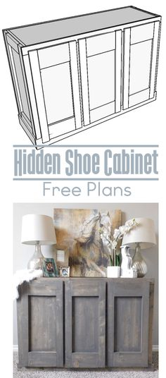 How To: DIY Hidden shoe cabinet storage free woodworking plans