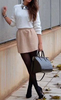 Light pink dress with black tights