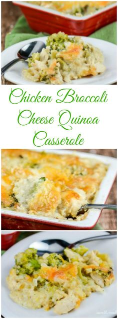Chicken Broccoli Cheese Quinoa Casserole is a healthy twist on the classic Chicken Broccoli and Rice Casserole in that it uses high protein, gluten free quinoa instead of rice, and has no canned soups.