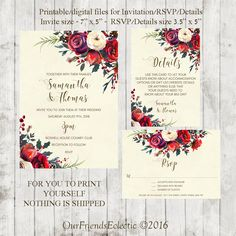 winter wedding invitation, christmas wedding invitation, Printable winter wedding invitation, winter wedding invitation suite, YOU PRINT by OurFriendsEclectic on Etsy