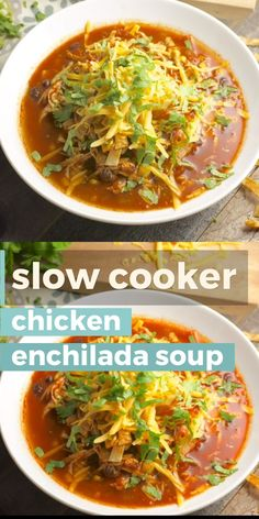 Enchiladas Discover Slow Cooker Chicken Enchilada Soup The perfect Slow Cooker Chicken Enchilada Soup loaded with Mexican spices corn beans and chicken! Top with shredded cheddar for a delicious easy slow cooker dinner! Slow Cooker Huhn, Crock Pot Slow Cooker, Slow Cooker Chicken, Slow Cooker Recipes, Cooking Recipes, Healthy Recipes, Crockpot Chicken Enchilada Soup, Easy Taco Soup, Crockpot Ideas