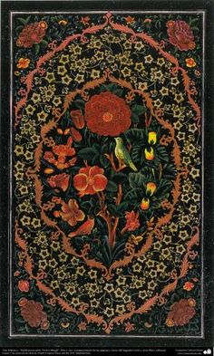"Islamic Art - Tazhib Persian style ""Gol-o Morgh"" - flower and bird - (100) 