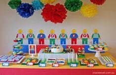 Crackers LEGO Birthday Party dessert table #babyshowerideas4u #birthdayparty #babyshowerdecorations #bridalshower #bridalshowerideas #babyshowergames #bridalshowergame #bridalshowerfavors #bridalshowercakes #babyshowerfavors #babyshowercakes