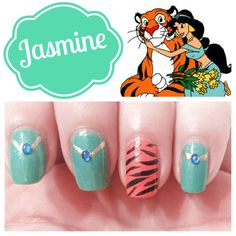 Jasmine Nails and 9 other Disney Princess inspired mani's! AWESOME post! #mani #nails #disney