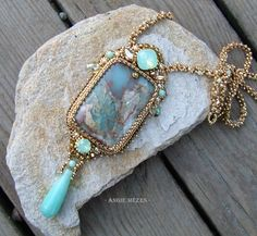 bead embroidered necklace in turquoise and gold, with jasper, jade, Swarovski Beaded Jewelry Designs, Handmade Beaded Jewelry, Seed Bead Jewelry, Pendant Jewelry, Unique Jewelry, Gothic Jewelry, Pendant Necklace, Collar Hippie, Diy Bead Embroidery