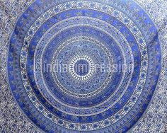 Ethnic Blue Mandala Tapestry Indian Wall Hanging Hippie Bohemian Dorm Throw Art #Handmade #BedspreadBedsheetWallHanging
