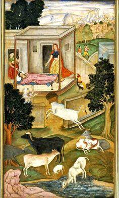 The Anwar-i-Suhaili, written by Hussain Ali Waiz, is a Persian version of the Panchatantra. [The Mother Mistakes a Bull for a God of Death].  Present Location: Varanasi (Banaras), Banaras Hindu University, Bharat Kala Bhavan.  Location: India. Date: 1596 CE