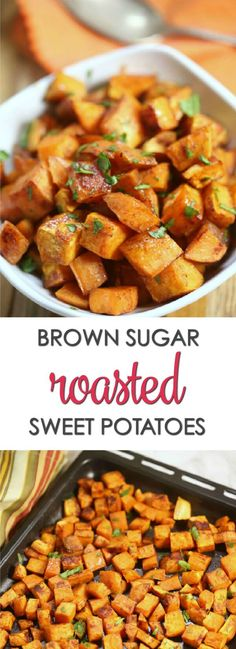 These Brown Sugar Sweet Potatoes are one of the best roasted sweet potato recipes you will try. They're dusted with cinnamon and other spices then coated in a sweet brown sugar mixture and roasted to golden perfection. Brown Sugar Sweet Potatoes, Sweet Potato Oven, Oven Roasted Sweet Potatoes, Sweet Potato Cinnamon, Sweet Potato Slices, Sweet Potato Recipes Healthy, Healthy Dessert Recipes, Vegetarian Recipes, Golden Potato Recipes