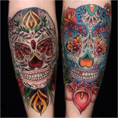 Twin Mexican skull tattoos @dayofthedead #mexicansugarskulls
