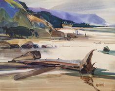 Mist Laden Headlund, Mendocino -watercolor -16x20