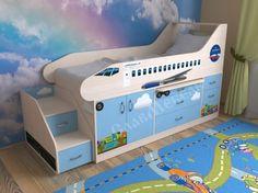 """Детская кровать-чердак Самолет  Кровать-чердакот 3 лет с рабочей зоной """"Самолет"""".     Кровать-чердак с рабочей зоной""""Самолет"""". Данный комплекс предназначен для детей от трех лет. Низкая высота кровати-чердака """"Самолет"""" позволит родителям не волноваться за безопасность ребенка. В тоже самое время пространство под кроватью очень рационально использовано. Здесь есть шкафчик, в который ребенок самостоятельно сможет убирать свои вещи, тем самым приучаясь к порядку.Сбоку приставлена 2-х…"""