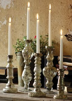 Antiqued Silver Glass Taper Candle Holder is part of Silver Home Accessories Mercury Glass - 2 4 13 5 8 Please be aware that some products are handmade and unique therefore there may be slight variations in each individual product Mercury Glass Candle Holders, Silver Candle Holders, Candlestick Holders, Candleholders, Candle Rings, Hermes Armband, Hermes Bracelet, Chandeliers, Scented Candles