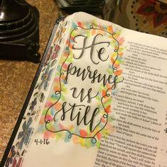 Hosea shows God's relentless pursuit of us. #truth #bibleart #biblejournaling…