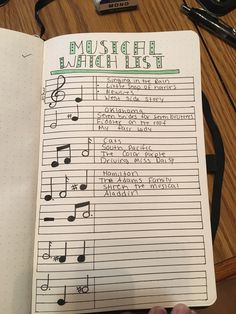 Bullet journal musical watch list #bulletjournaljunkies #bulletjournal #music #musicals #sheetmusic #musicnotes