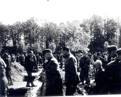Ludwigslust, Germany, German civilians and German POWs forced to bury corpses from Wobbelin death camp.