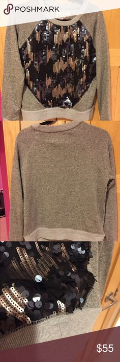 NWT Medium Evy's Tree Joy Small hole in front by sequins loose thread in front bottom and some black stitching on one arm and on back band. Only tried on so must have come that way. See pictures.  non smoking kitty friendly home Evy's Tree Tops Sweatshirts & Hoodies