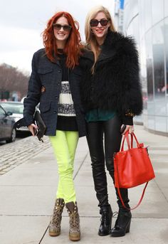 Taylor Tomasi HIll and Joanna Hillman - strategic pops of color #NYFW