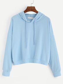 Blue Drop Shoulder Hooded Sweatshirt