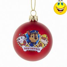 This Paw Patrol Shatterproof Ball Ornament is a fun and festive addition to any holiday décor! Perfect for fans of Paw Patrol, this red ball ornament features Marshall, Chase, and Rubble along with the Paw Patrol bone logo Christmas Trees For Kids, Christmas Balls, Christmas Stockings, Paw Patrol Christmas Ornaments, Rubble Paw Patrol, Unicorn Backgrounds, Paw Patrol Characters, Unicorn Invitations, Personalized Ornaments
