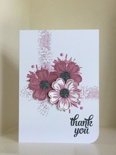 Stamps used - Touches of Texture and Flower Shop with a sentiment from the Tin of Cards stamp set. Sweet Sugarplum ink has been used for the stamping - created by Julia Jordan