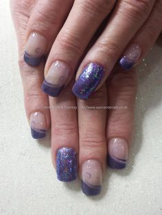 Aurora purple gel polish with pink nsi glitter ring fingers