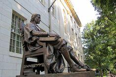 Cambridge - Harvard Yard - John Harvard statue. DiscoverHarvard.com