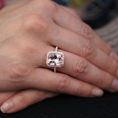 I really love Morganite; hate to rock the boat but I think I want it over a diamond; love ovals and this: Rose Gold Morganite Ring mm Cushion Cut Diamond by samnsue Morganite Engagement, Rose Gold Engagement Ring, Engagement Ring Settings, Halo Engagement, Halo Diamond, Diamond Cuts, Diamond Rings, Solitaire Rings, Diamond Girl