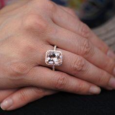 Rose Gold Morganite Ring 11x9 mm Cushion Cut Diamond Halo Morganite Engagement Anniversary Ring. $1,350.00, via Etsy.