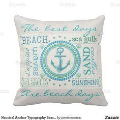 Nautical Anchor Typography Beach Throw Pillow