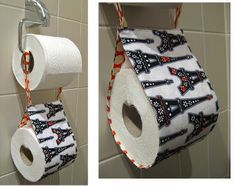 Toilet Paper Holder -  Are you looking for an innovative way to stash that extra roll of toilet paper? Check out this great Toilet Paper Holder tutorial.This easy project only calls for a few pieces of fabric and buttons, making it budget friendly.
