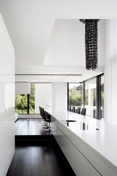 Interior of the Casa Murano in Stuttgart by Architects LEE+MIR, with an extra large counter _