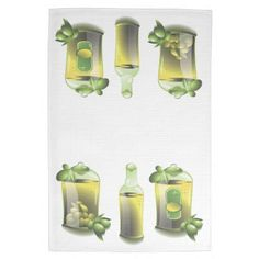 "Kitchen Towel 16"" x 24""  Brighten up any kitchen with a set of American MoJo custom kitchen towels. Made of 100% cotton twill  EVOO motif matching the Olive Oil Kitchen"