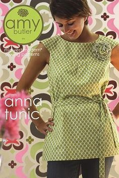 """Amy Butler - Anna Tunic Pattern from @fabricdotcom  Mod style and clean lines give this tunic it's """"annatude."""" The back has a unique button closure. Add the belt for an hourglass shape, and the sweet fabric flower makes for an artistic accent piece to ginger up your Anna Tunic. Pattern includes sizes 2 - 20.  Suggested fabrics include Amy Butler Cottons or any light to medium weight woven.  <br><a href=http://d2d00szk9na1qq.cloudfront.net/Images/PDF/ABP-034.pdf>Click here for pattern ..."""