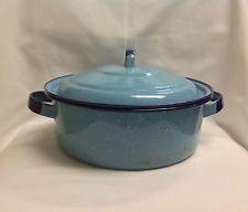 Azul vintage Jaspeada portador de Graniteware Metal cookware pan Plato Con Tapa