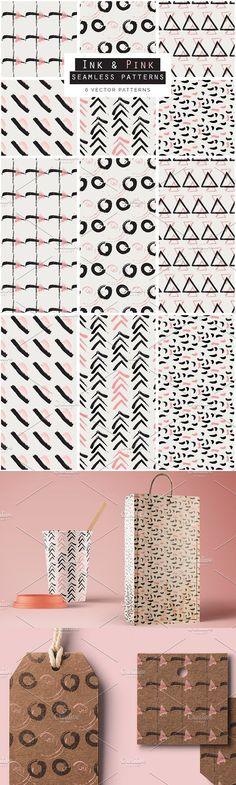 Ink & Pink Seamless Patterns. Wedding Card Templates