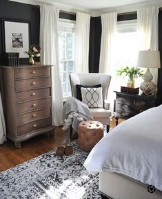 Modern Home Decor Bedroom – Southern Home Decor Dark walls, white curtains, master bedroom and guest room ideas 88 Wonderful Master Bedroom Makeover Ideas Bedroom design ideas can be inspiration to make you redo your bedroom beautifully. A New Rug and A Blue Master Bedroom, Farmhouse Master Bedroom, Master Bedroom Makeover, Master Bedroom Design, Home Decor Bedroom, Modern Bedroom, Bedroom Furniture, Bedroom Ideas, Contemporary Bedroom